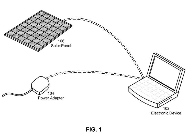 Apple запатентовала систему питания электронного устройства от солнечной батареи и адаптера электросети