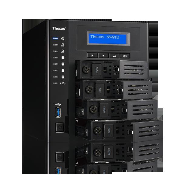 Сетевое хранилище Thecus N4810 поддерживает массивы объемом до 40 ТБ